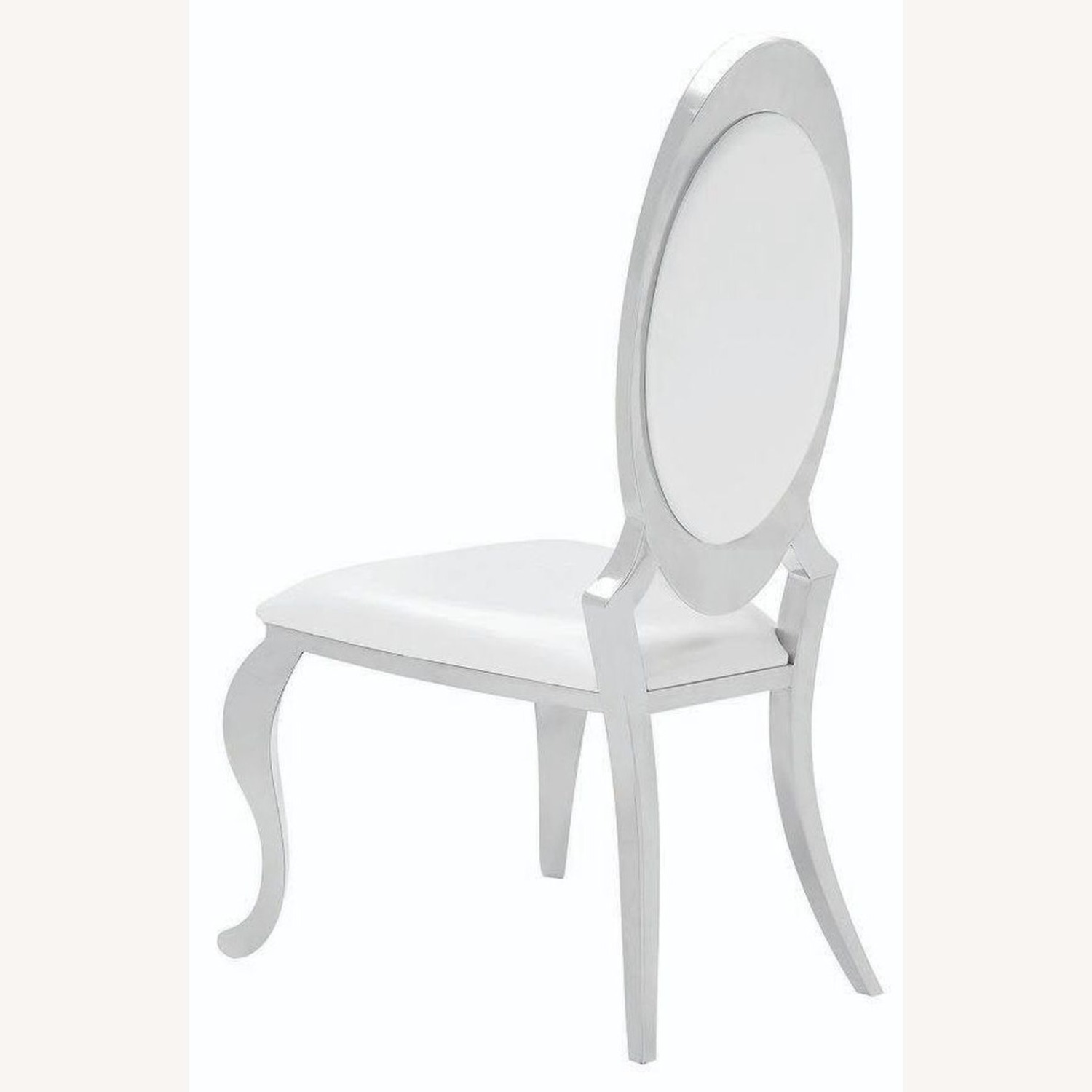 Modern Side Chair In Creamy White Upholstery - image-2