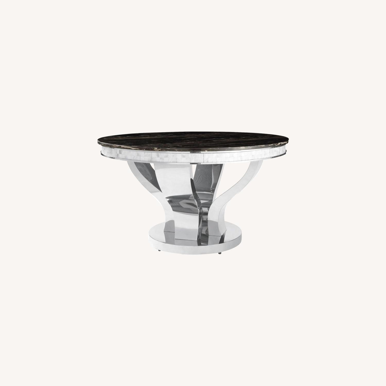 Contemporary Dining Table In Glossy Chrome Finish - image-3