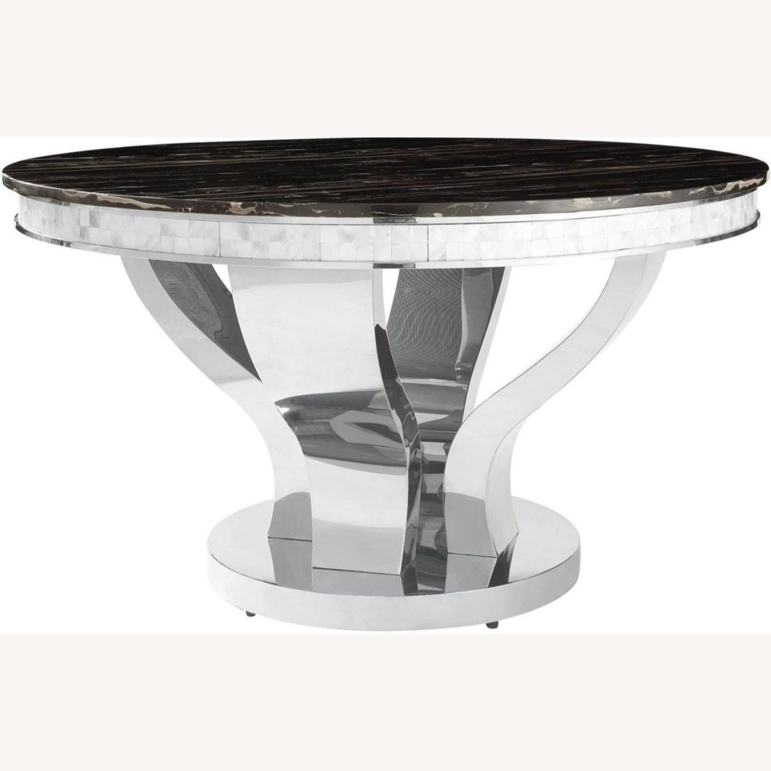 Contemporary Dining Table In Glossy Chrome Finish - image-0