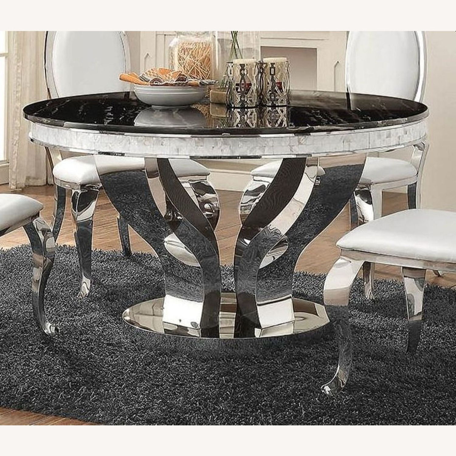 Contemporary Dining Table In Glossy Chrome Finish - image-1