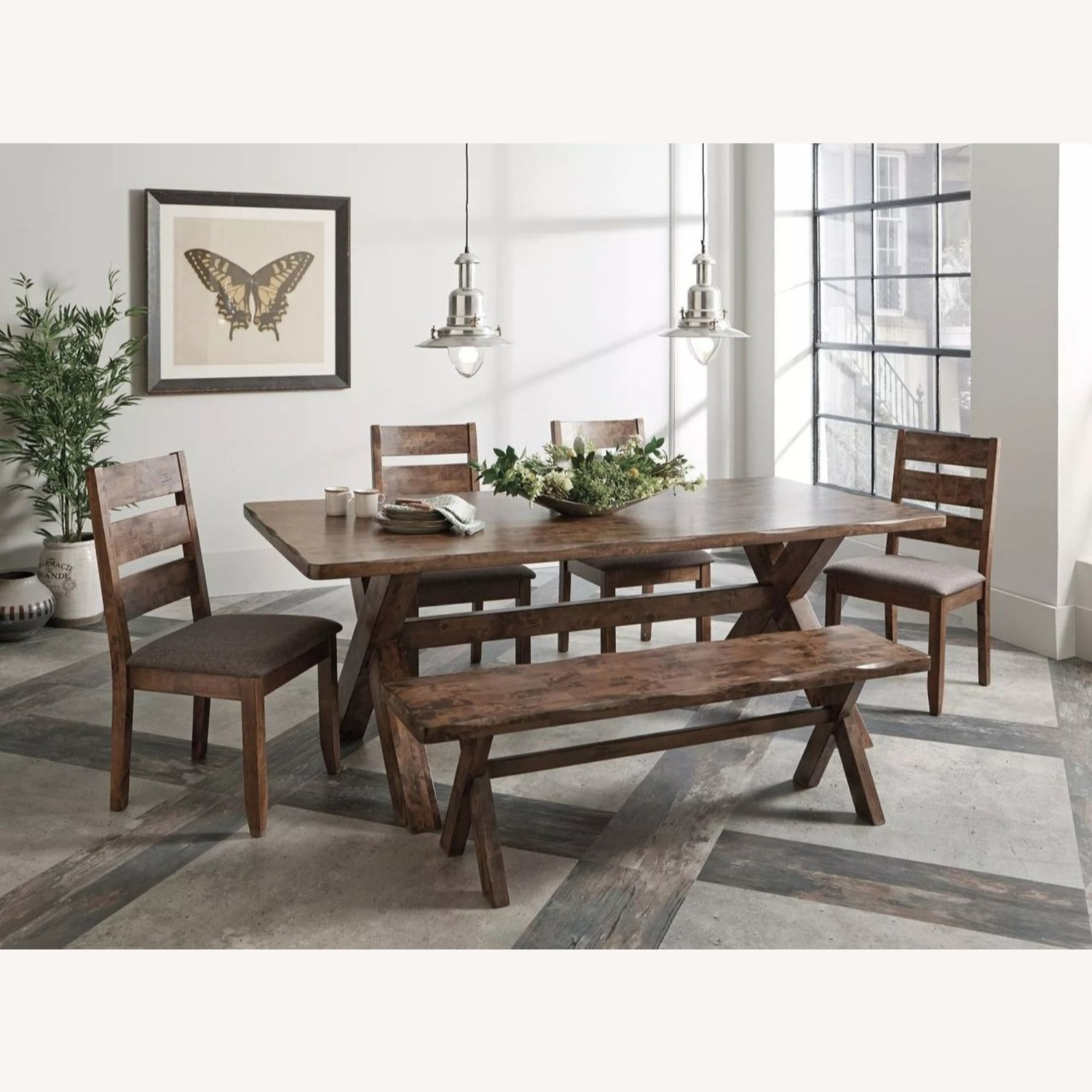 Rustic 47-In Dining Bench In Knotty Nutmeg - image-2