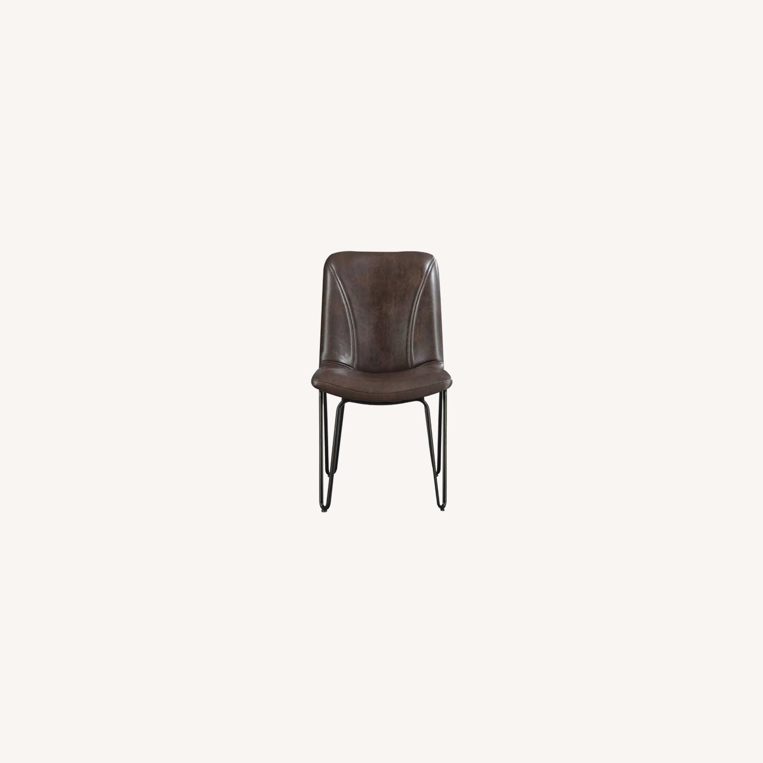 Modern Side Chair Wrapped In Brown Leatherette - image-4