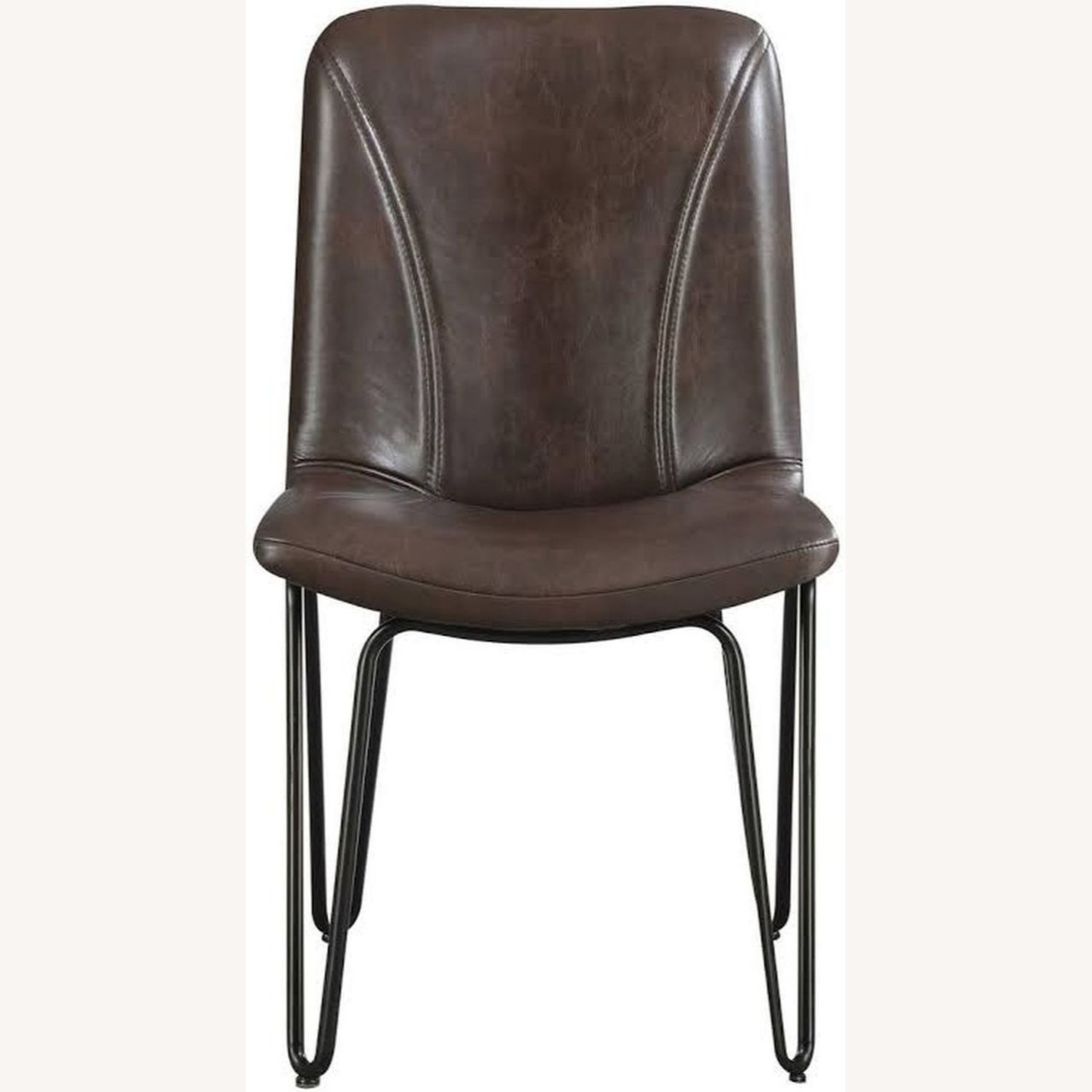 Modern Side Chair Wrapped In Brown Leatherette - image-1