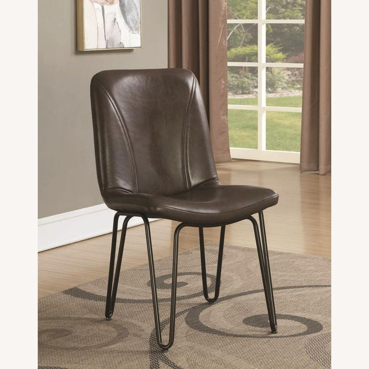 Modern Side Chair Wrapped In Brown Leatherette - image-3