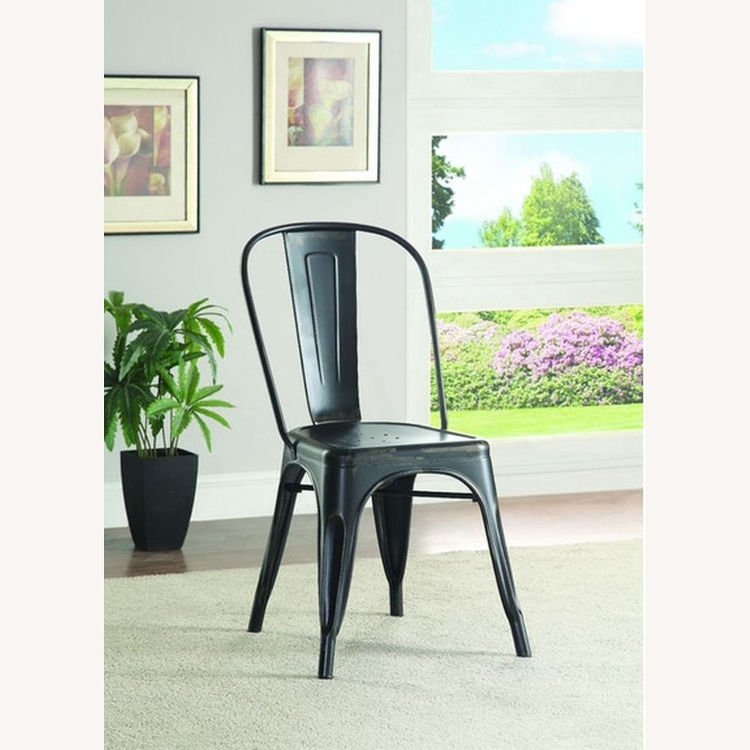 Charming Dining Chair In Black Metal - image-2