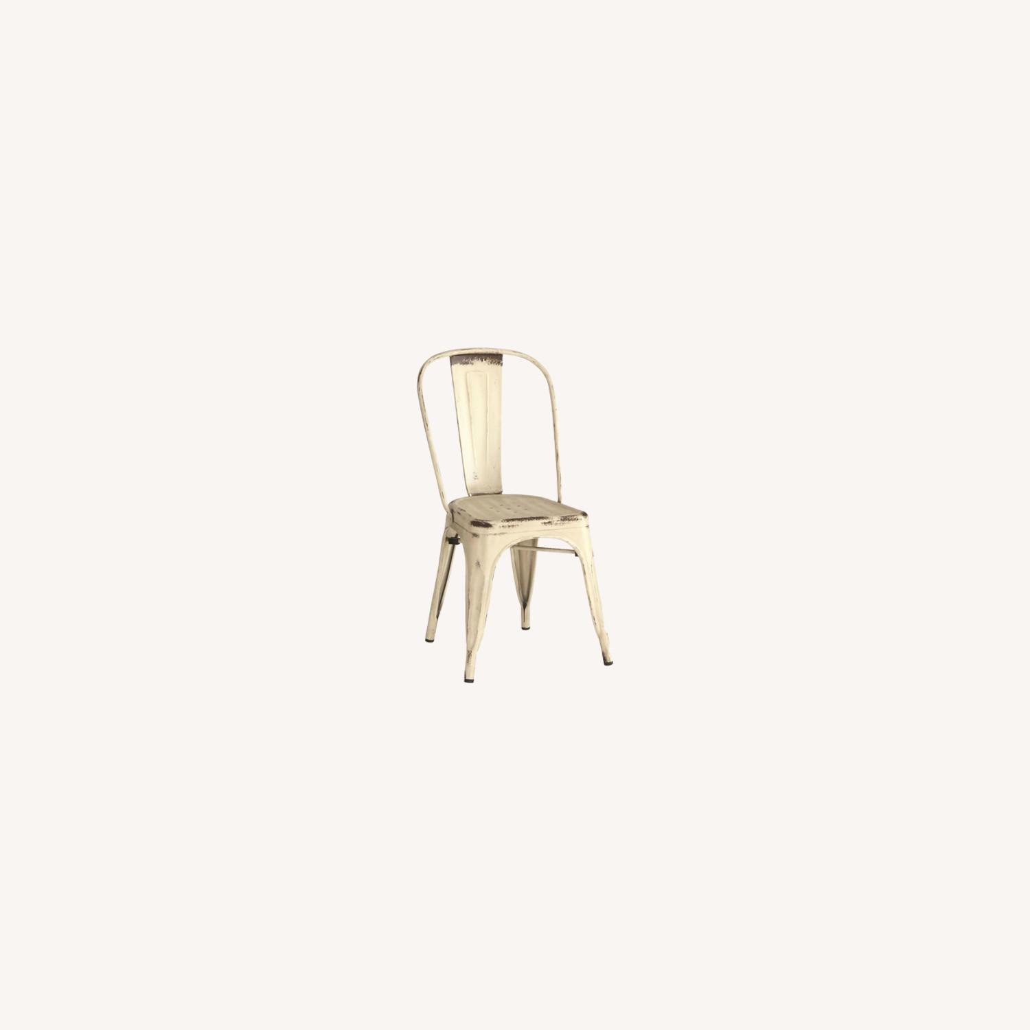 Modern Industrial Dining Chair In White Metal - image-4