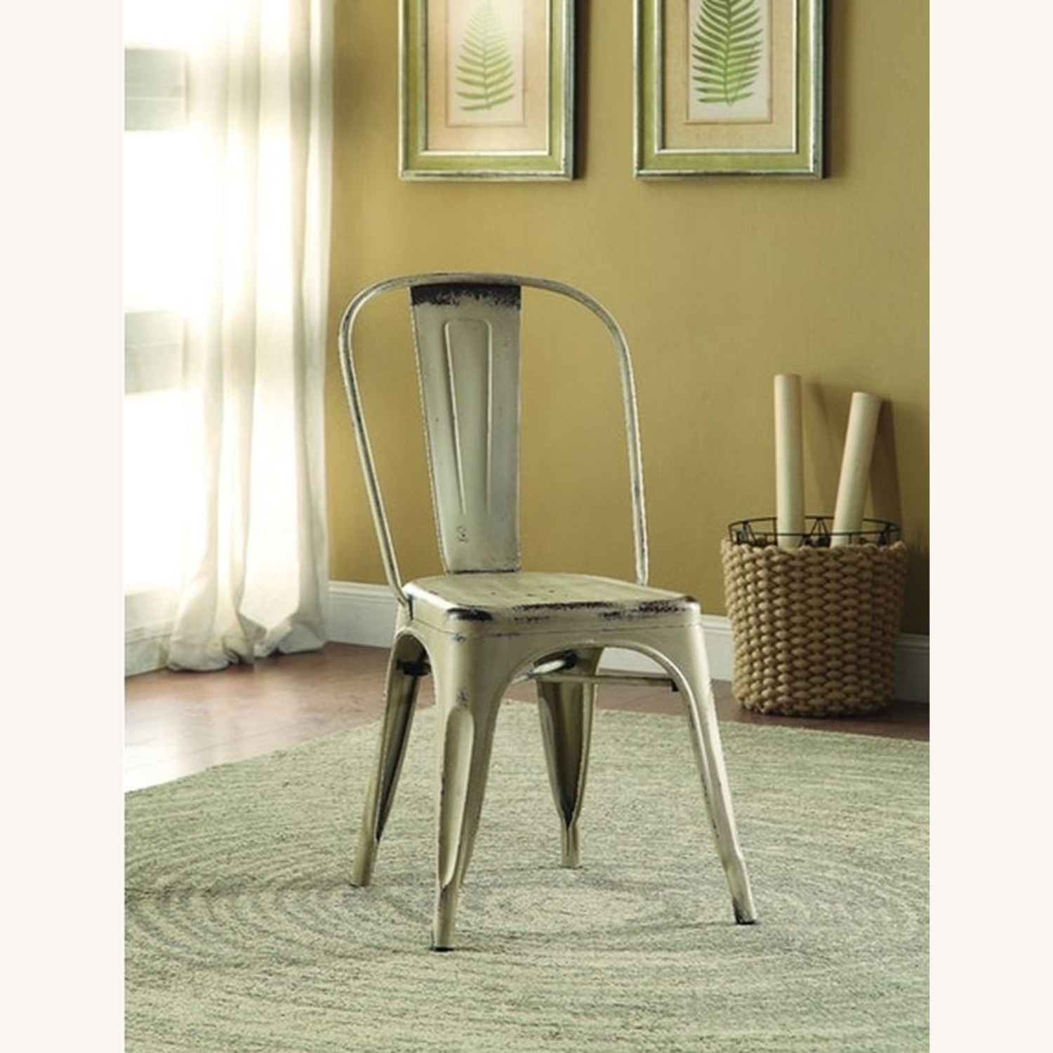 Modern Industrial Dining Chair In White Metal - image-2