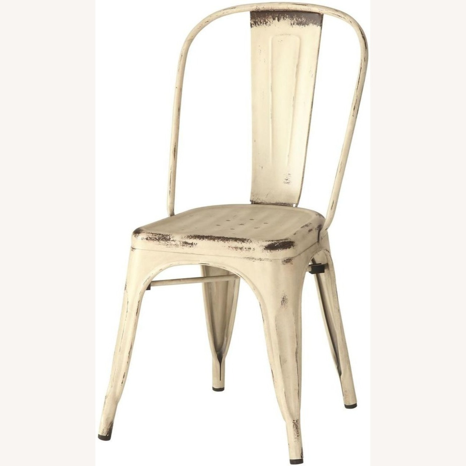 Modern Industrial Dining Chair In White Metal - image-1