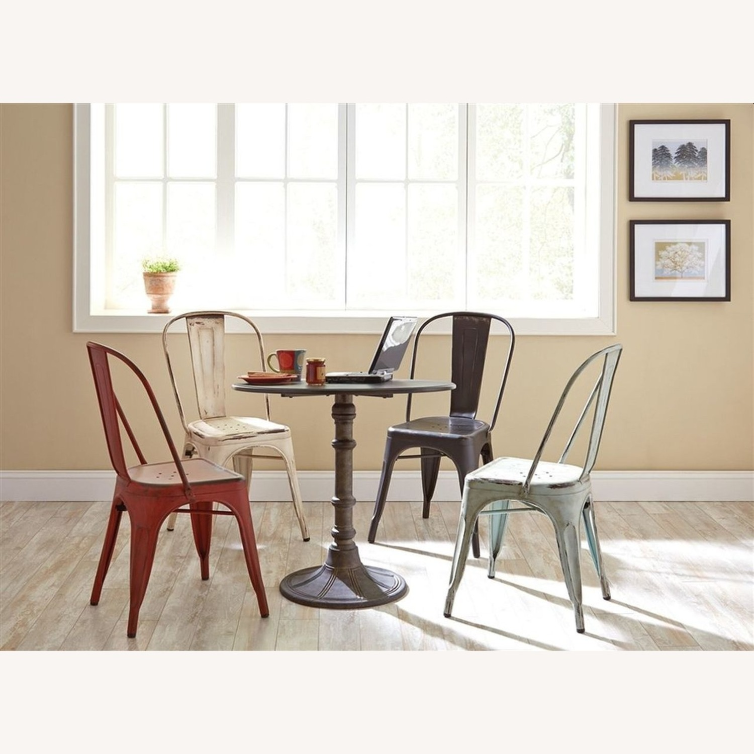 Modern Industrial Dining Chair In White Metal - image-3