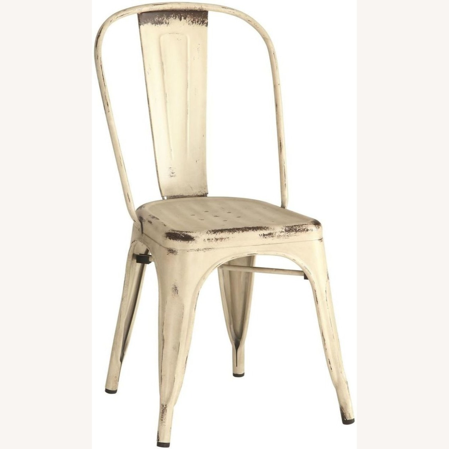 Modern Industrial Dining Chair In White Metal - image-0