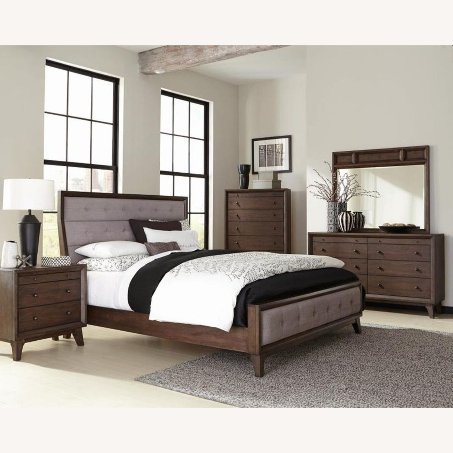 Retro Queen Bed In A Neutral Grey Fabric - image-2