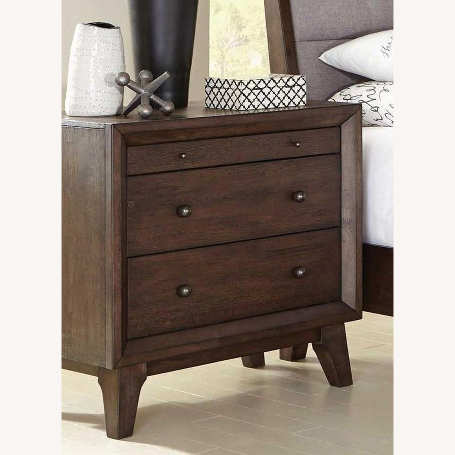 Retro Nightstand Finished In Brown Oak  - image-2