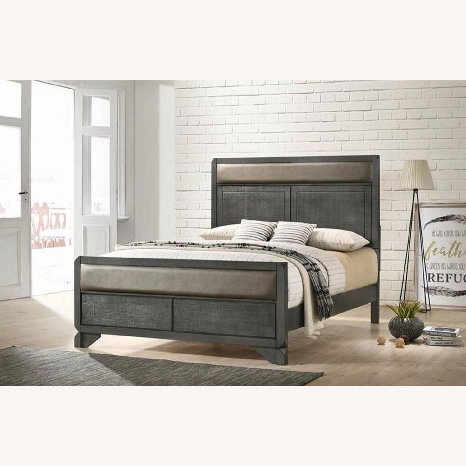 Elegant Queen Bed In Grey Leatherette Panels - image-2