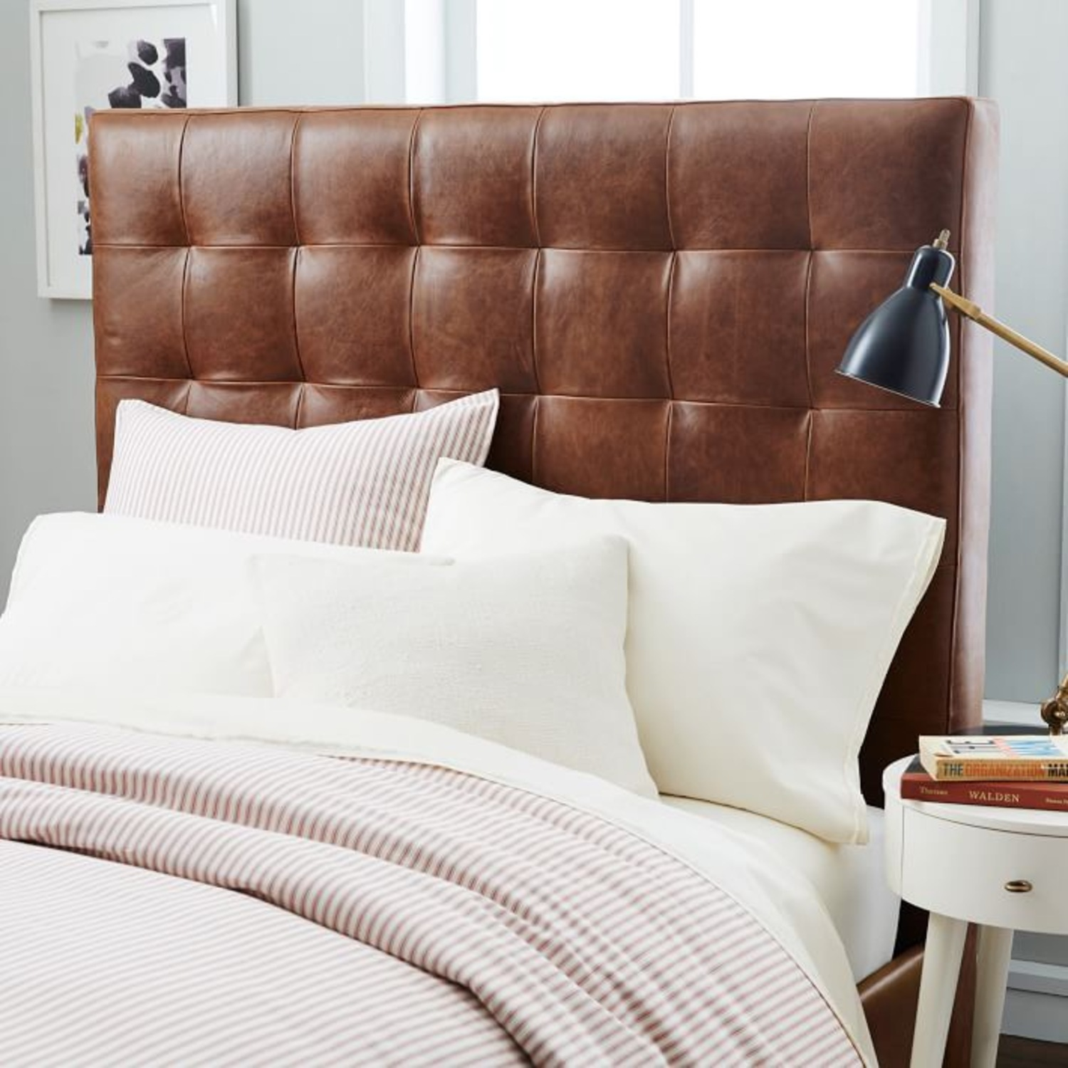 West Elm Leather + Boerum Tall Bed - image-1