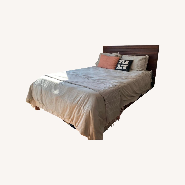 West Elm Queen Wood Bed - image-0