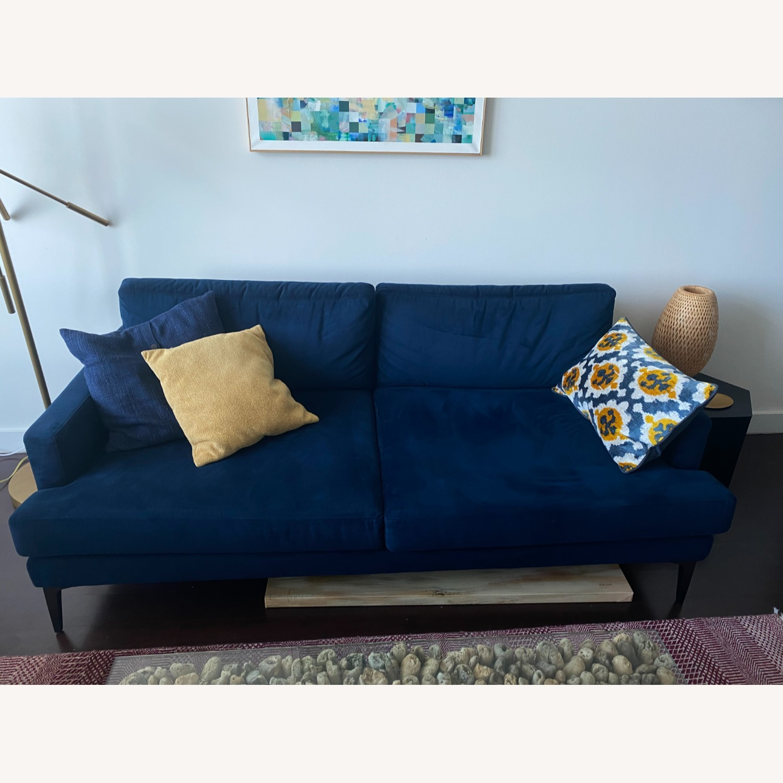 West Elm Blue Velvet Sofa - image-1