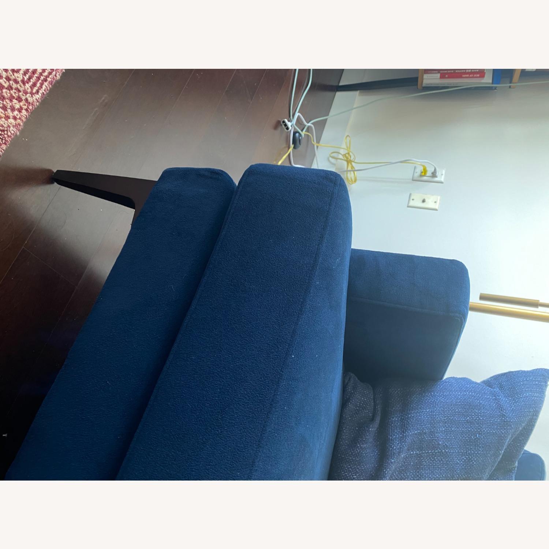 West Elm Blue Velvet Sofa - image-8