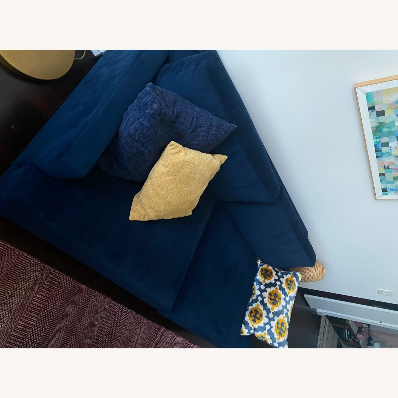 West Elm Blue Velvet Sofa - image-6