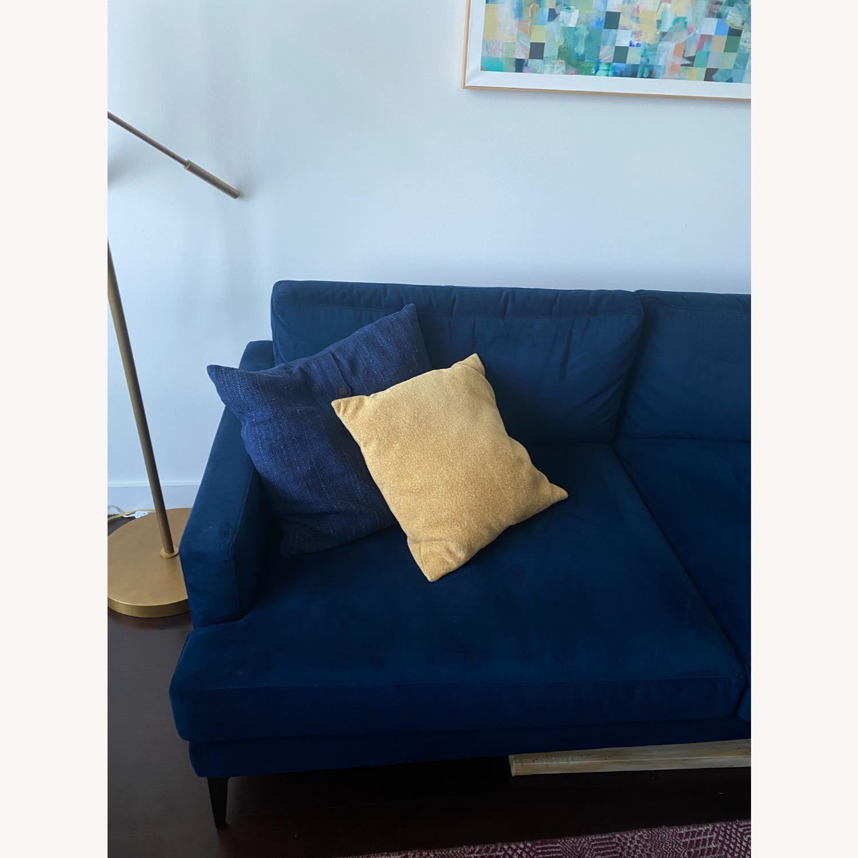 West Elm Blue Velvet Sofa - image-3