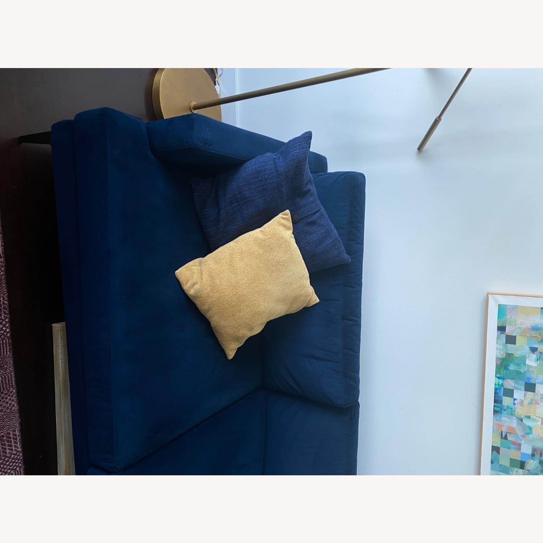 West Elm Blue Velvet Sofa - image-7