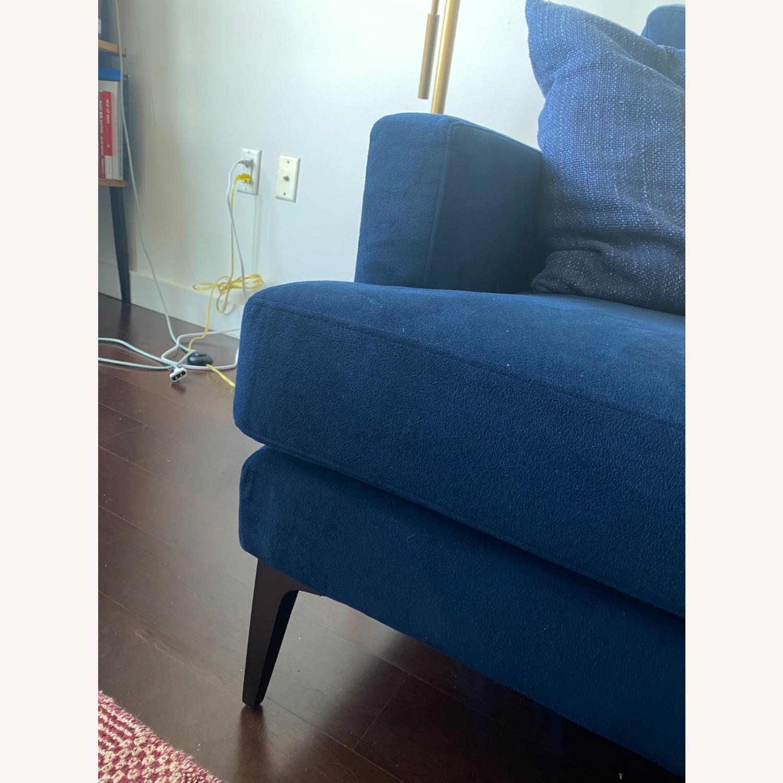 West Elm Blue Velvet Sofa - image-4