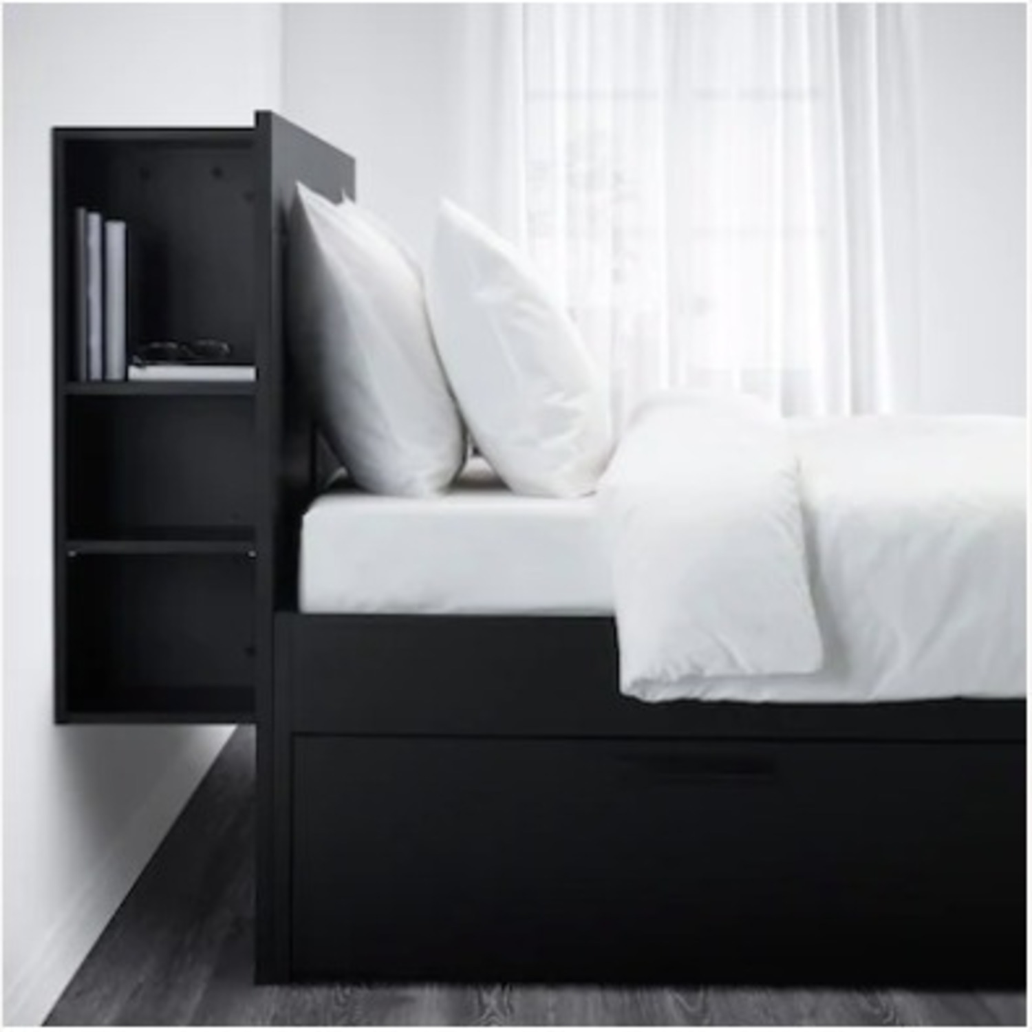 IKEA Queen Size Storage Bed From with Headboard - image-2