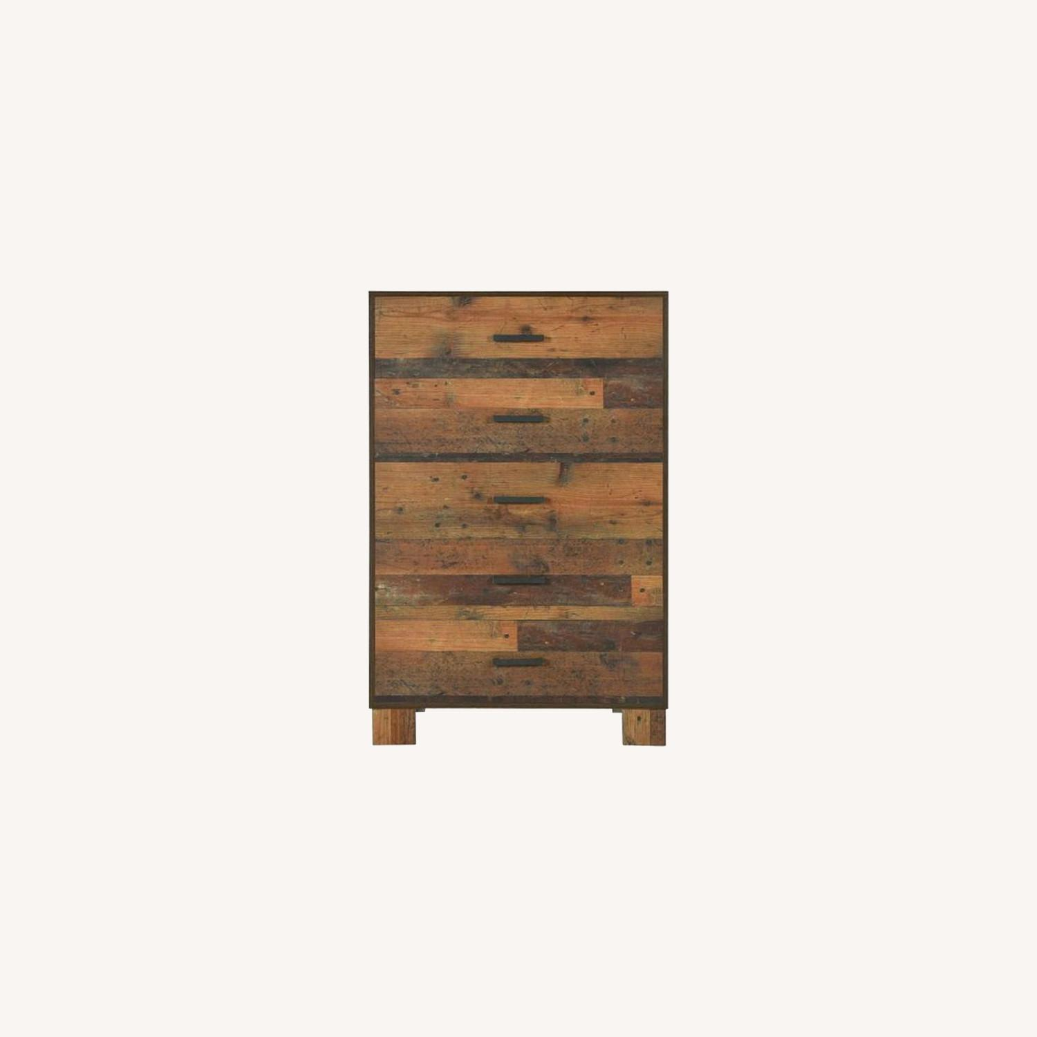 Chest In Rustic Pine Finish w 5 Drawer - image-3