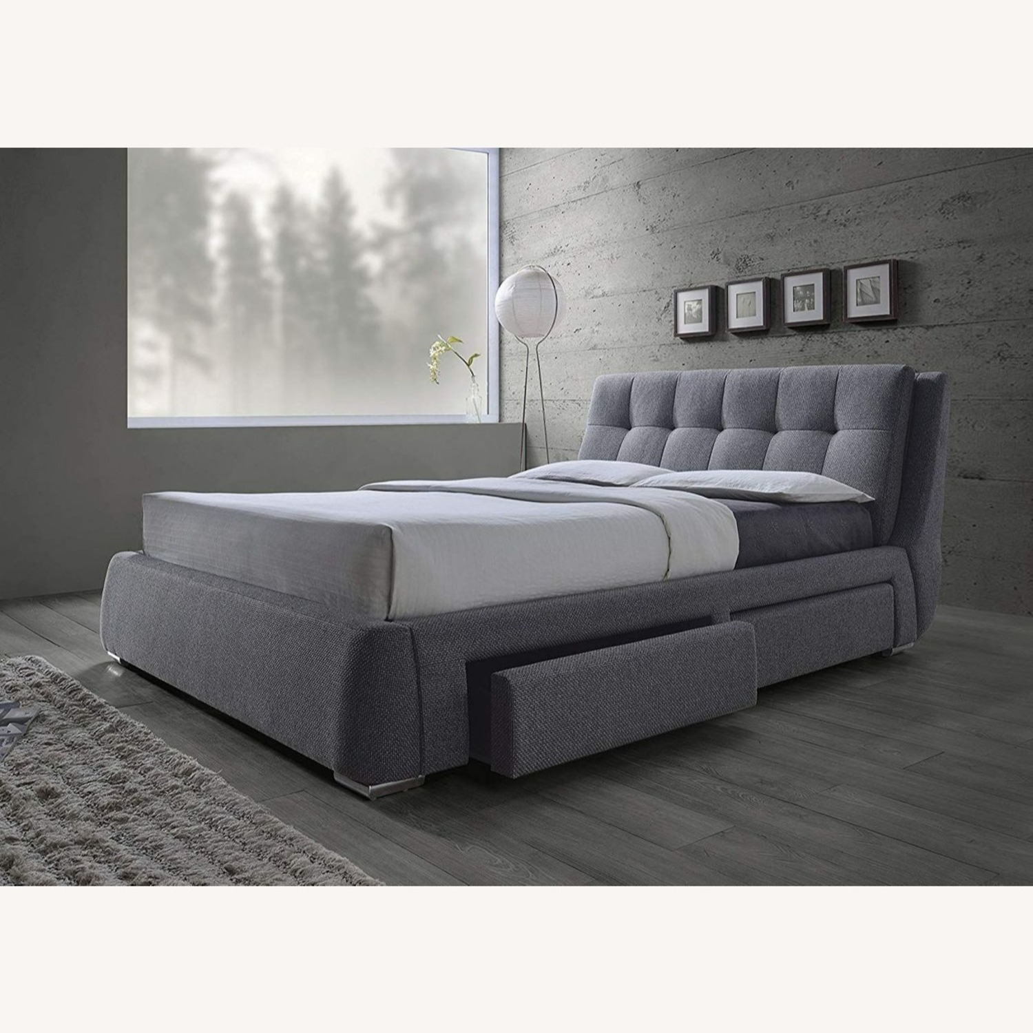 King Storage Bed W/ 4 Drawers In Soft Grey - image-3