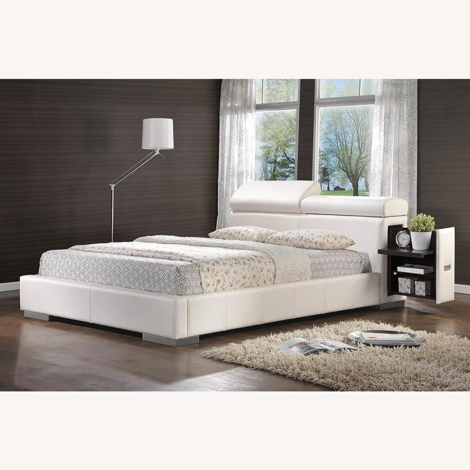 Modern Queen Bed In White Leatherette - image-3
