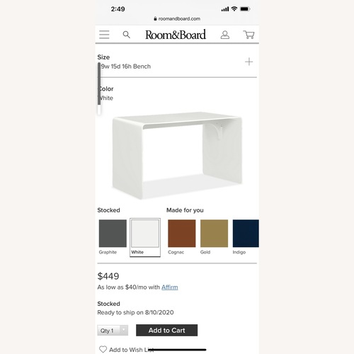 Used Room & Board Cooper Bench for sale on AptDeco