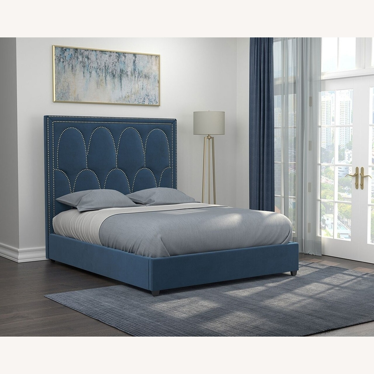 Queen Bed In A Rich Blue Velvet - image-2