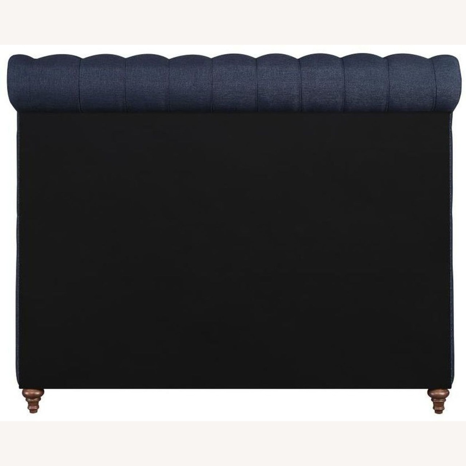 King Bed In Navy Blue Woven Fabric - image-3