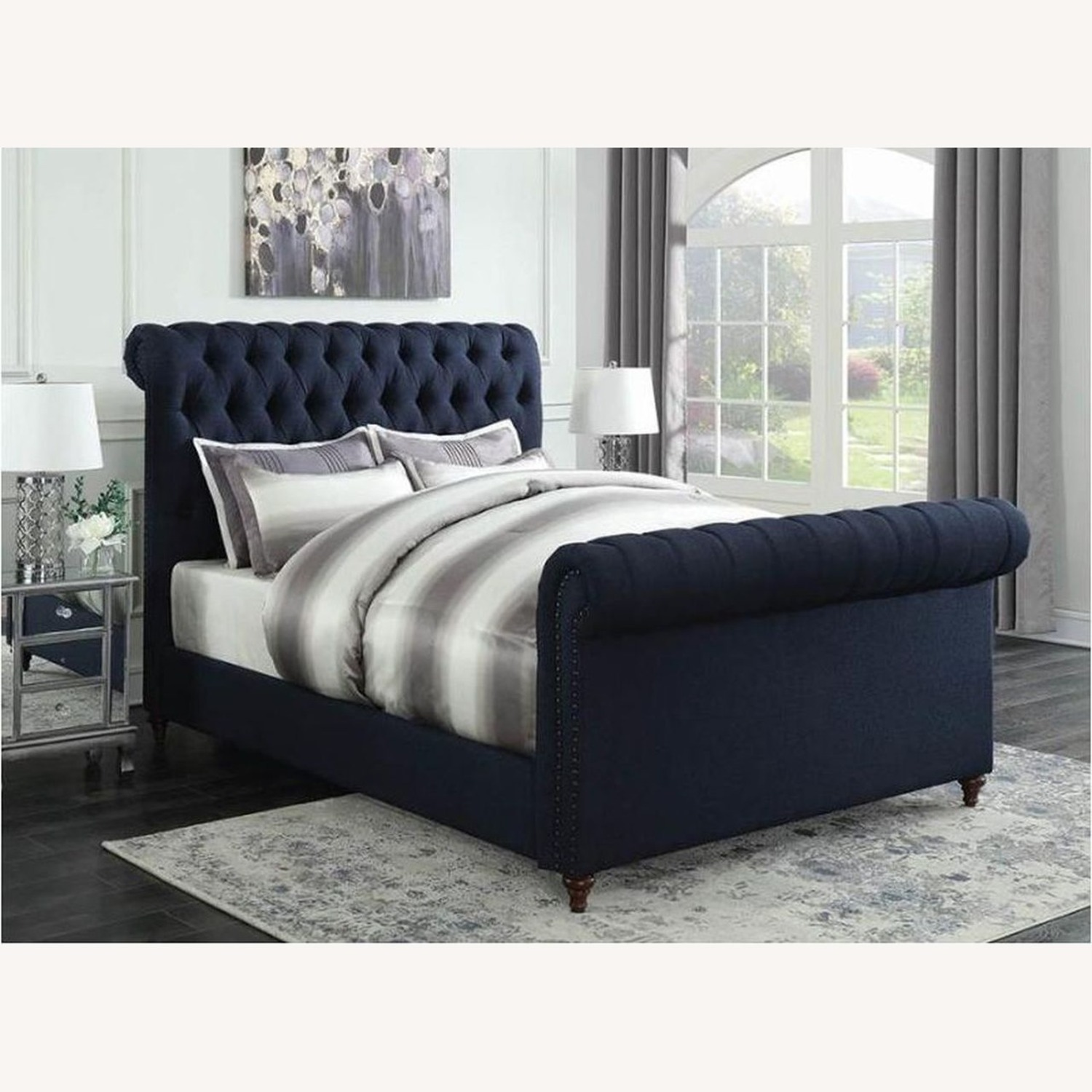 King Bed In Navy Blue Woven Fabric - image-4