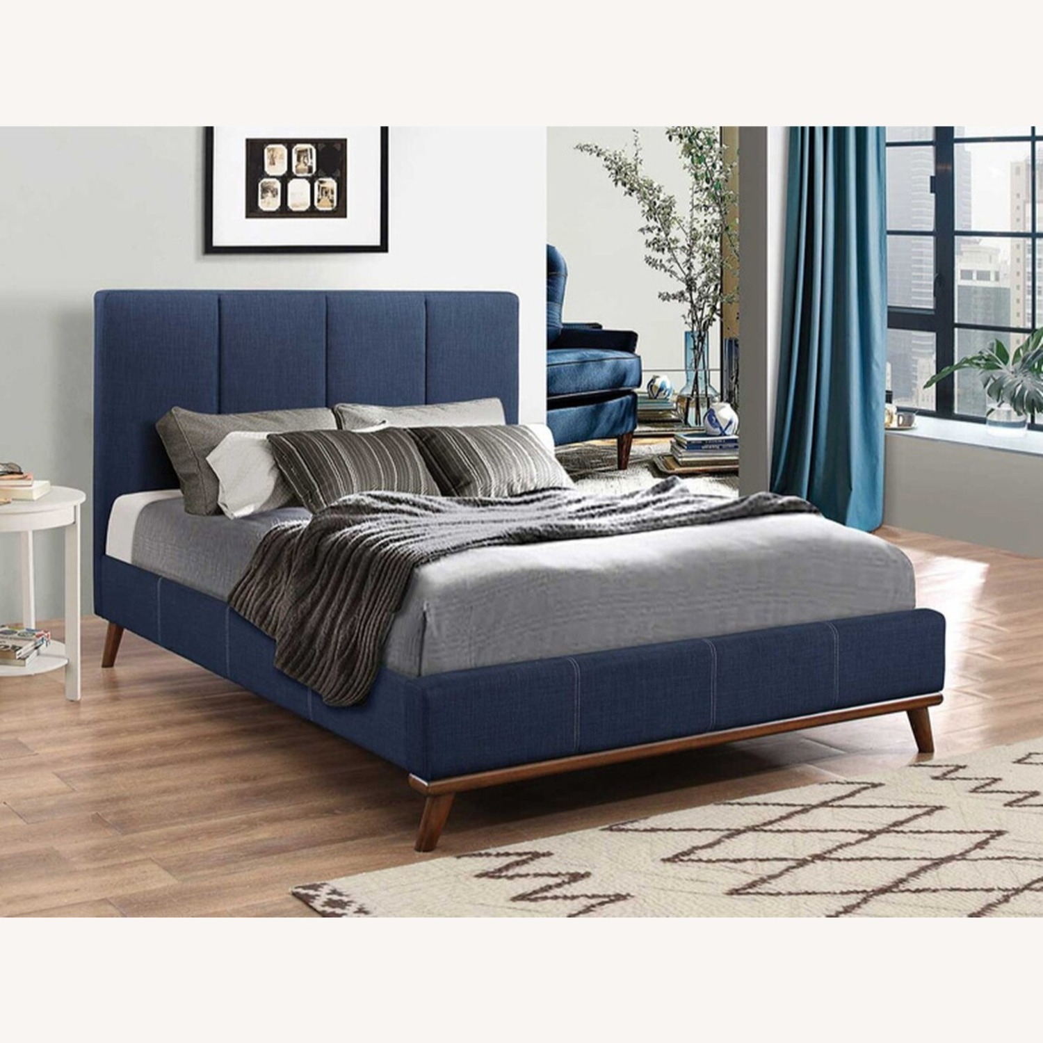Mid Century Queen Bed In A Blue Fabric Finish - image-2