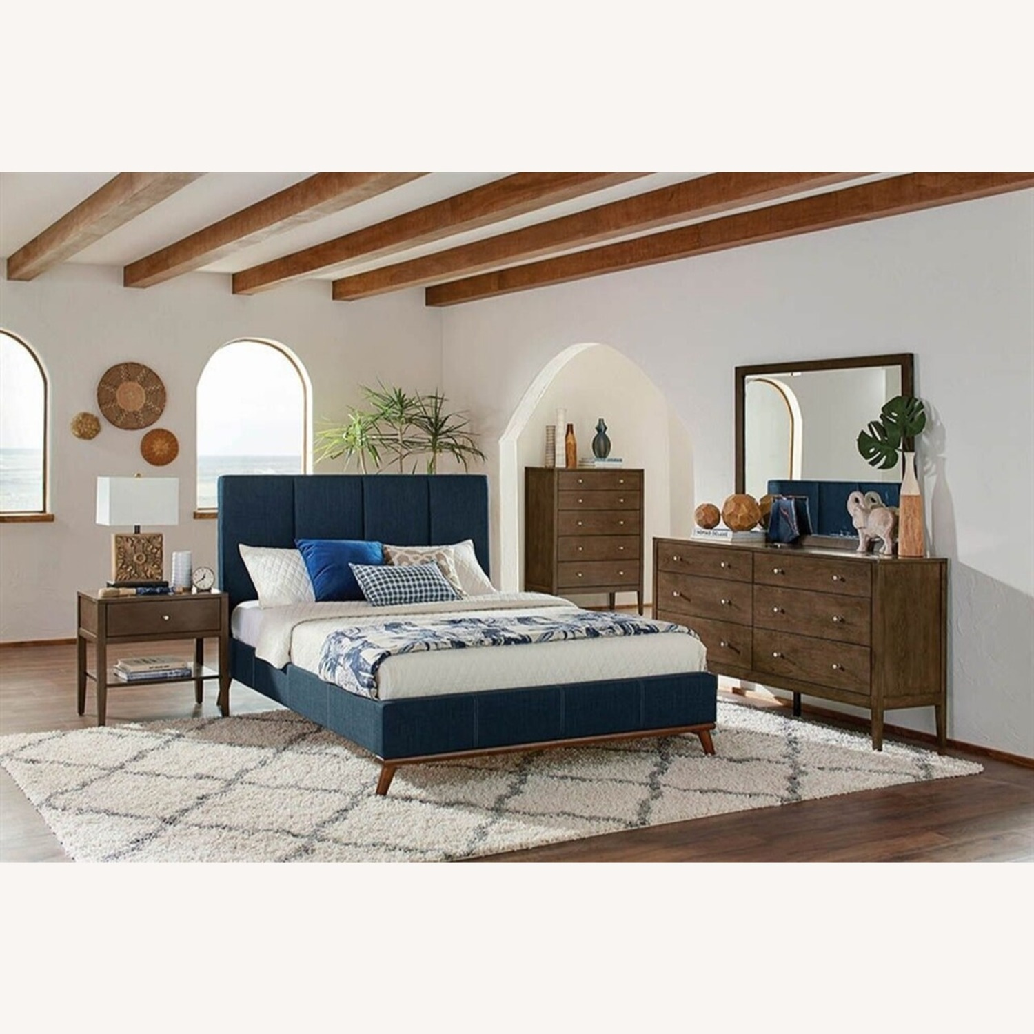 Mid Century Queen Bed In A Blue Fabric Finish - image-3