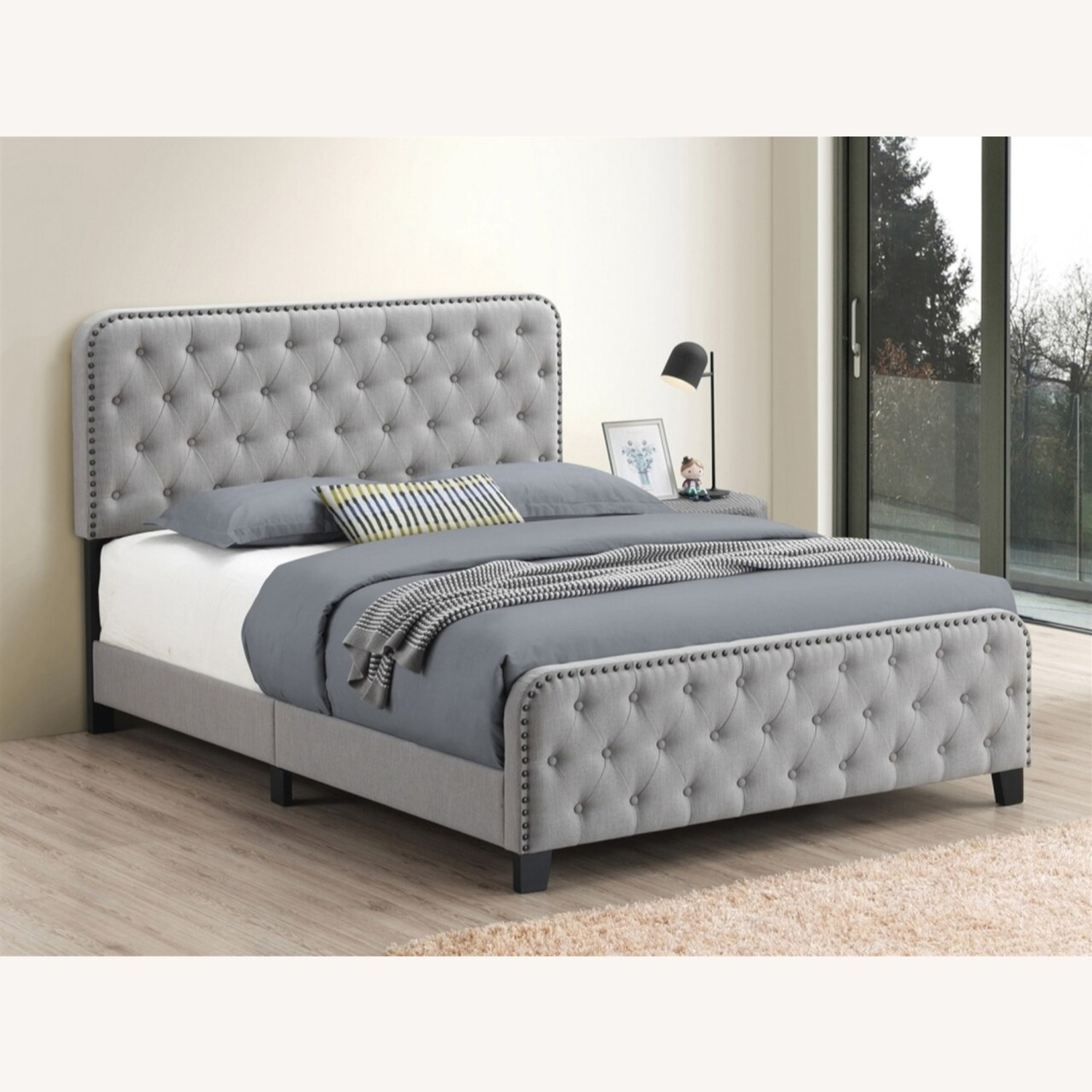 Comfortable King Bed In Mineral Linen - image-2