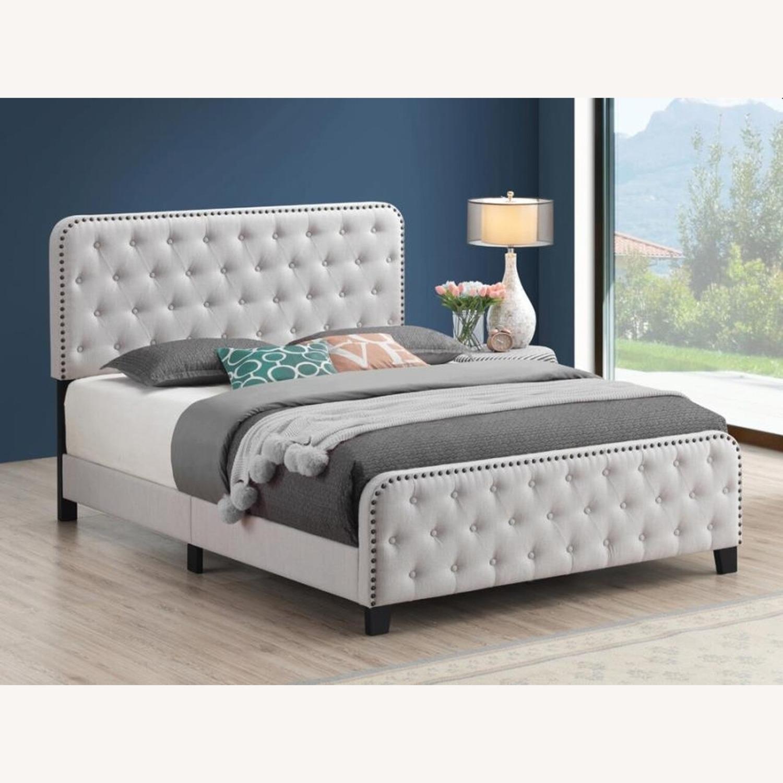 Vintage Queen Bed In Beige Fabric - image-2