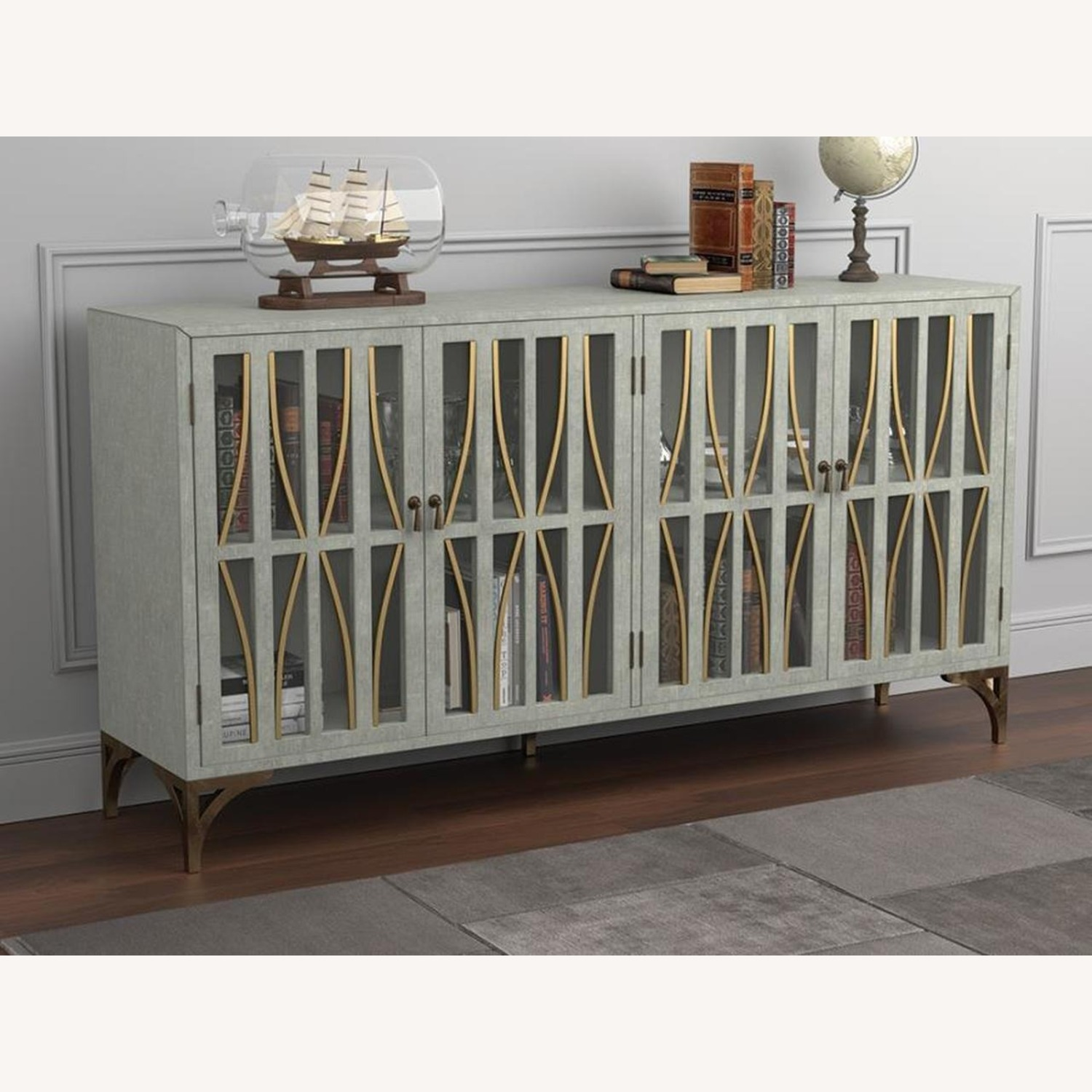 Contemporary Accent Cabinet In Grey Green Finish - image-4