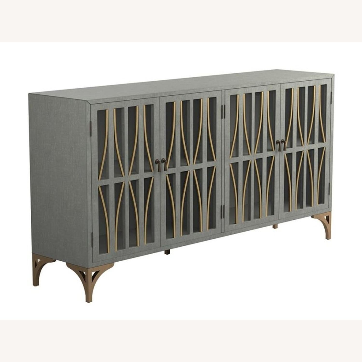 Contemporary Accent Cabinet In Grey Green Finish - image-0