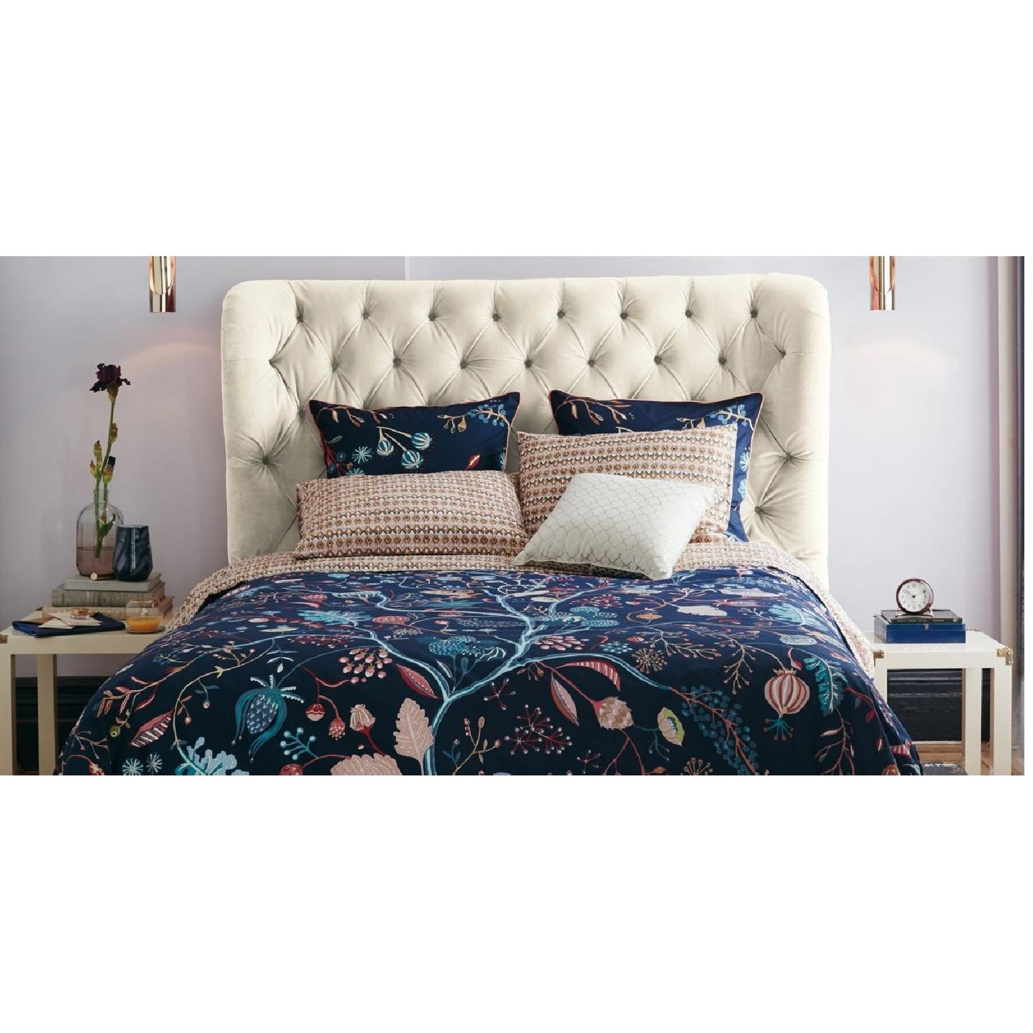 Anthropologie Velvet Tufted Wingback Bed - image-6