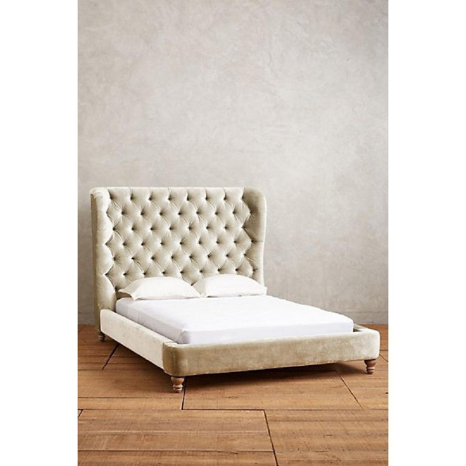 Anthropologie Velvet Tufted Wingback Bed - image-7