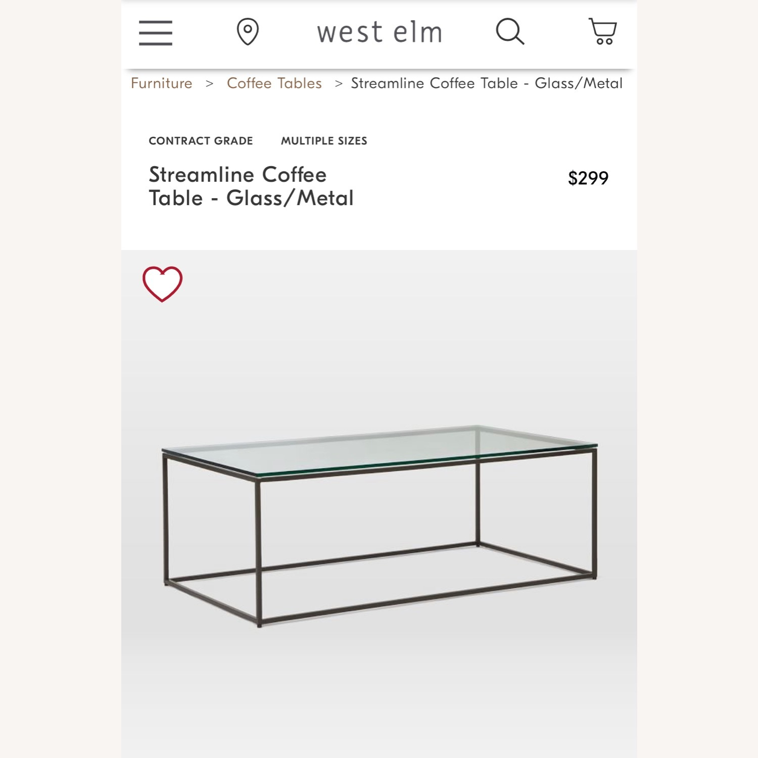 West Elm Streamline Coffee Table - Glass/Metal - image-1