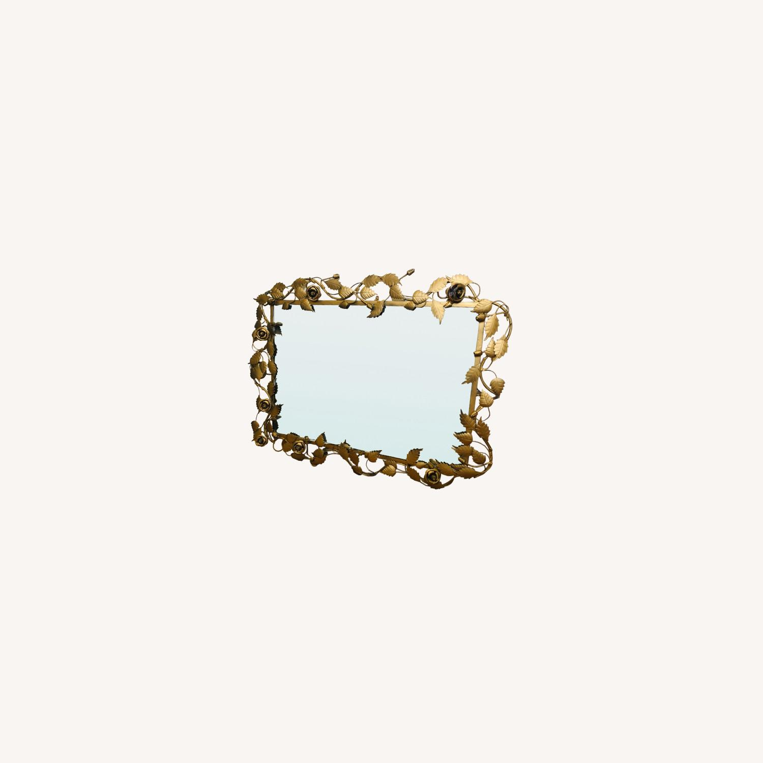 Vintage Anthropologie Mirror with Gold Rose Detail - image-0