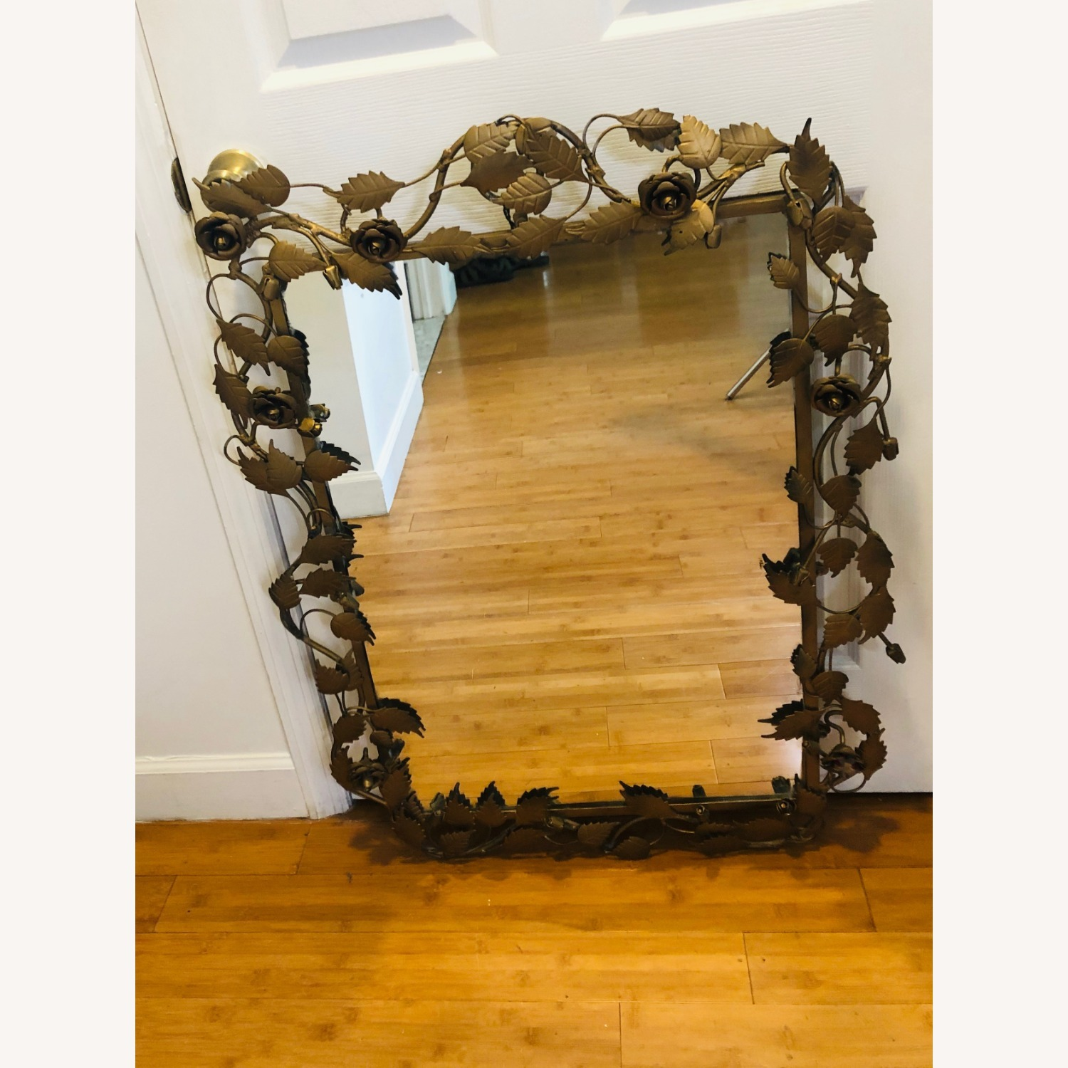 Vintage Anthropologie Mirror with Gold Rose Detail - image-4