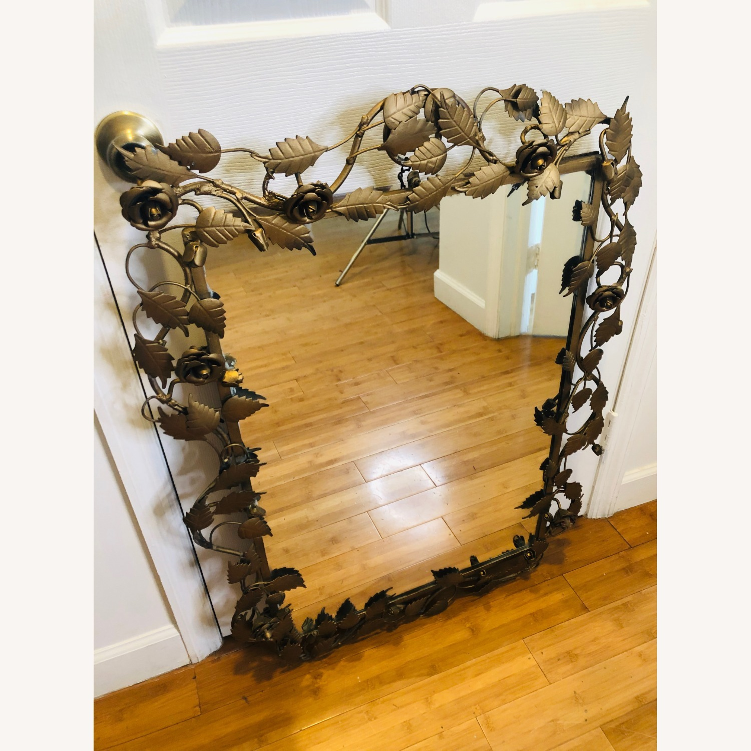 Vintage Anthropologie Mirror with Gold Rose Detail - image-5