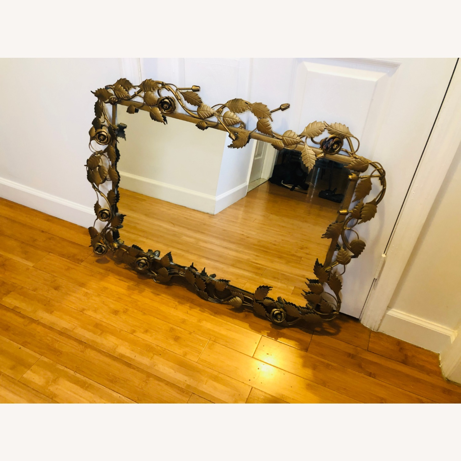 Vintage Anthropologie Mirror with Gold Rose Detail - image-3