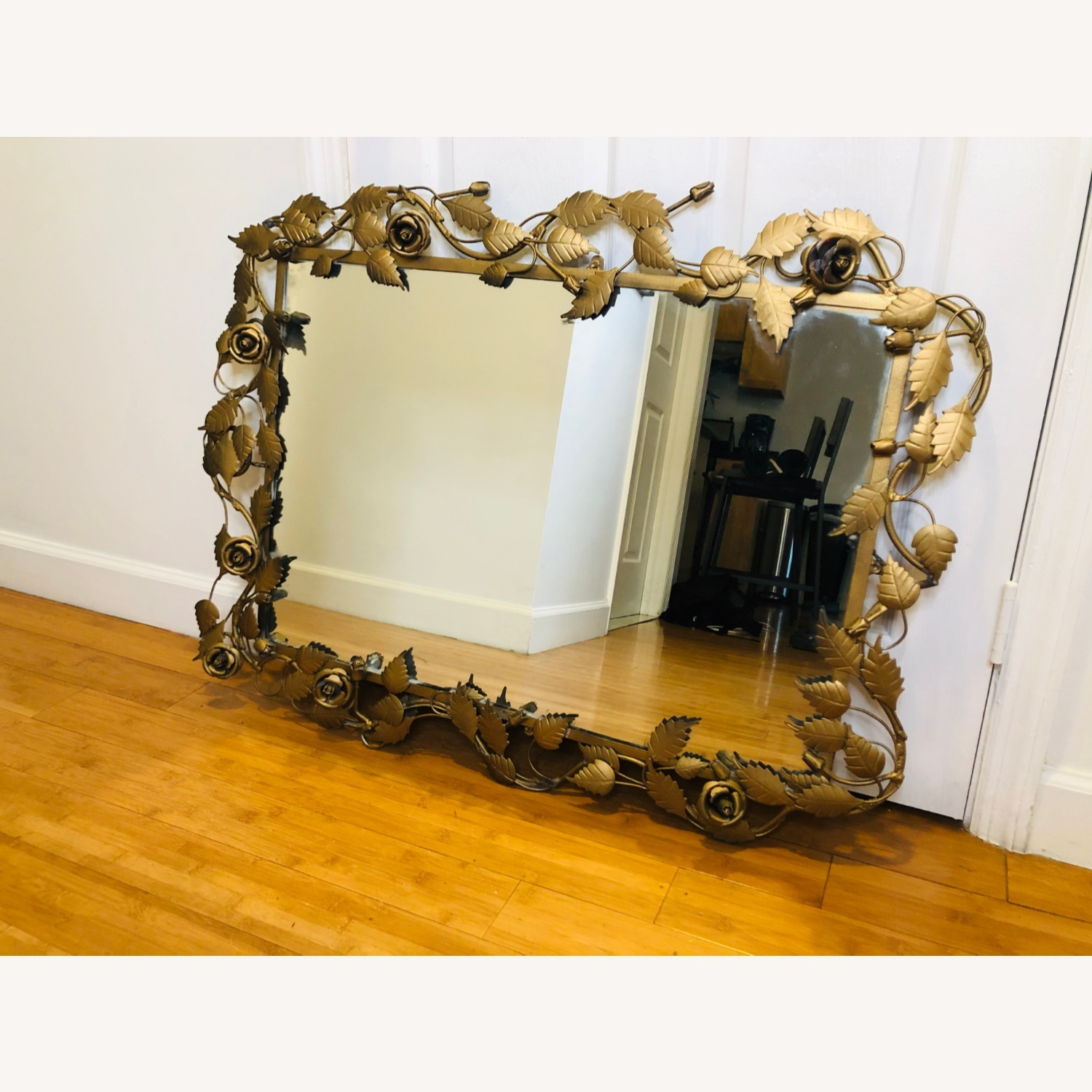 Vintage Anthropologie Mirror with Gold Rose Detail - image-1