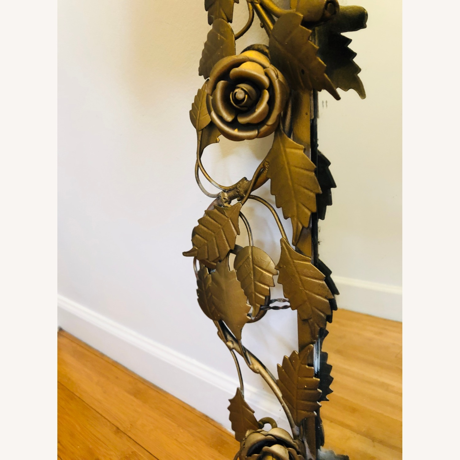 Vintage Anthropologie Mirror with Gold Rose Detail - image-2