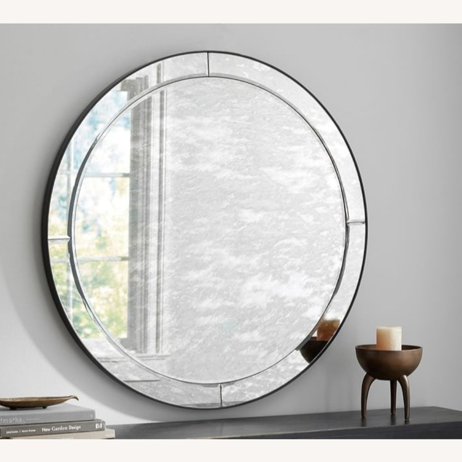 Pottery Barn Walker Antiqued Round Glass Mirror - image-1