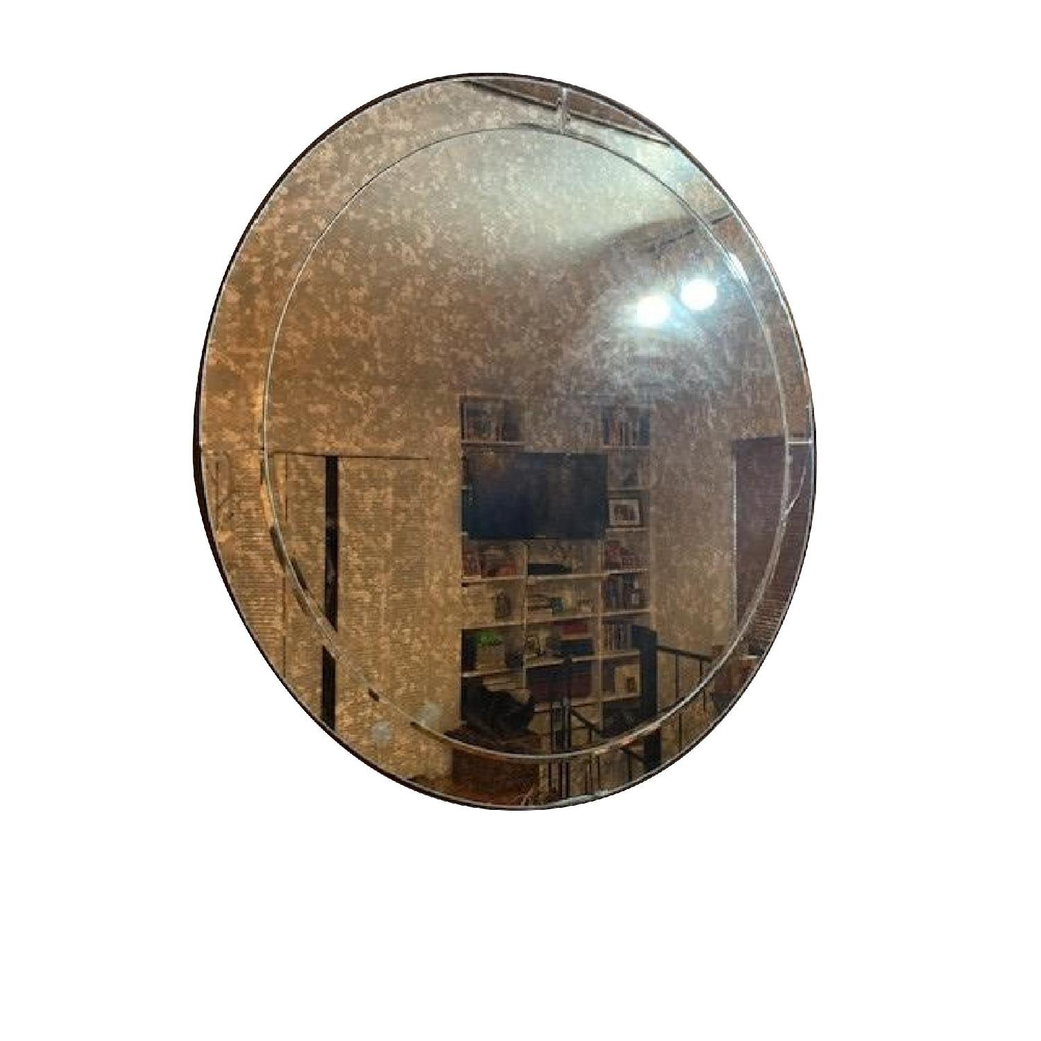 Pottery Barn Walker Antiqued Round Glass Mirror - image-3